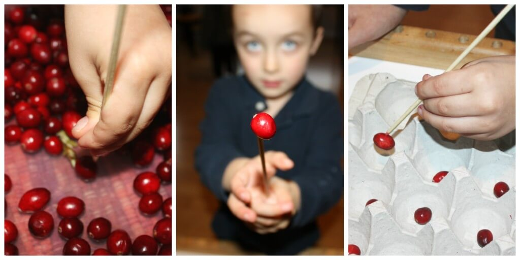 cranberry fine motor skills skewer sticking