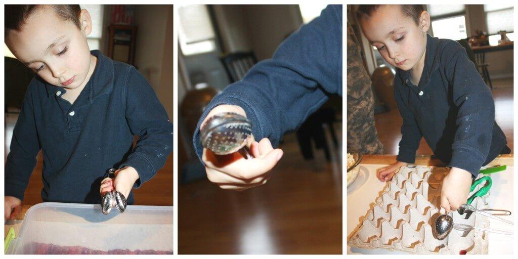 cranberry fine motor skills tea strainer practice