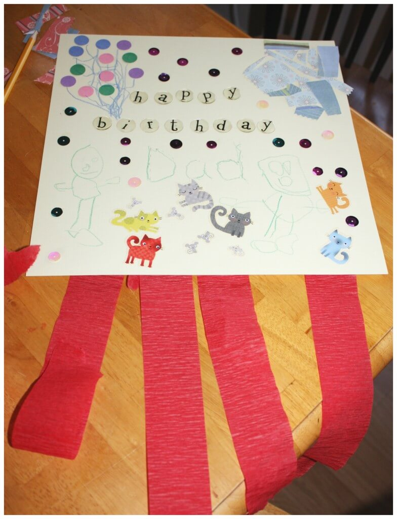 homemade birthday card fine motor skills finished card