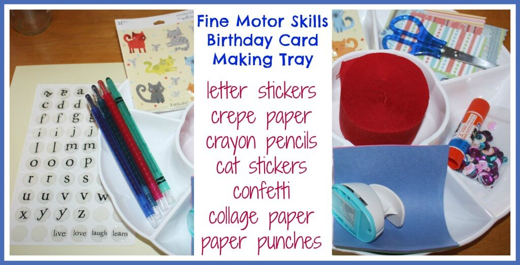 homemade birthday card fine motor skills set up