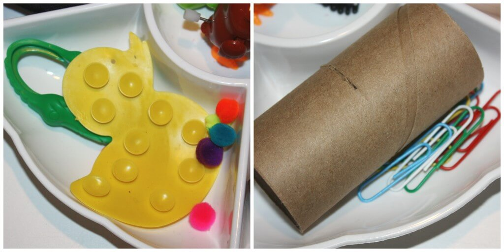 mini activity fine motor skills tray duck and tube