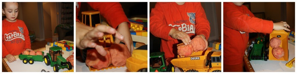 play dough construction building with trucks