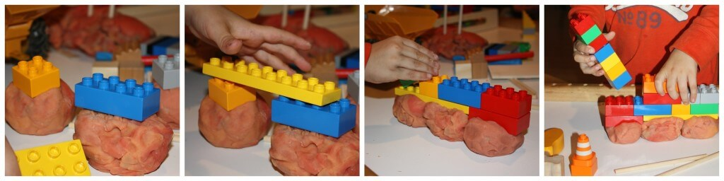 play dough construction with lego building