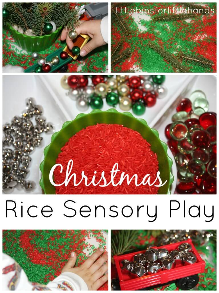 Christmas Sensory Bin With Colored Rice And Evergreens