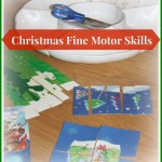 Christmas fine motor skills completed puzzles tray