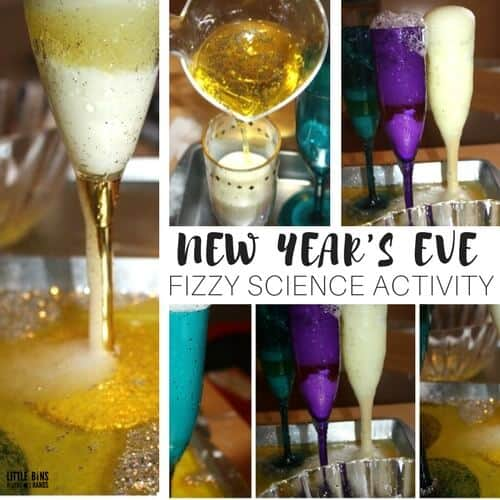 New Years Activity Fizzy Baking Soda Science Champagne Glasses