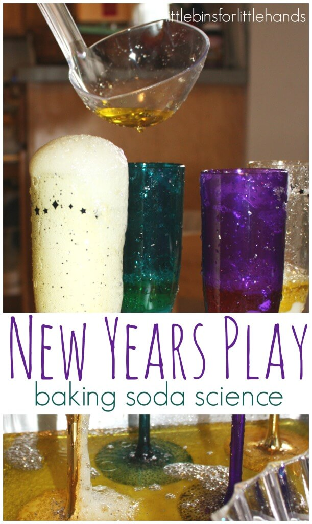 New year's eve is such an exciting night for me! I love the changing of the year and the new possibilities the next year will bring. Of course, before we had our son, we were off to dinner and dancing the night away! Now we can still celebrate with a new years activity but it's a different kind of fizzy, the science experiment kind!