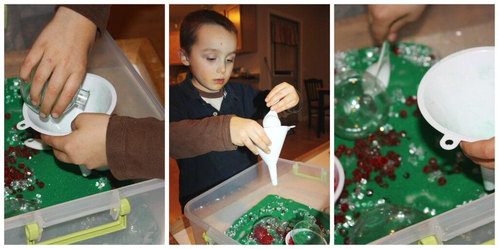 Sand Christmas Sensory Bin Funnel Play