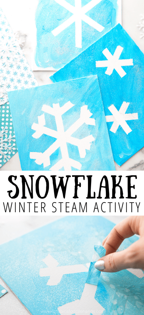 Create your own snowflake painting for winter art activity for kids.