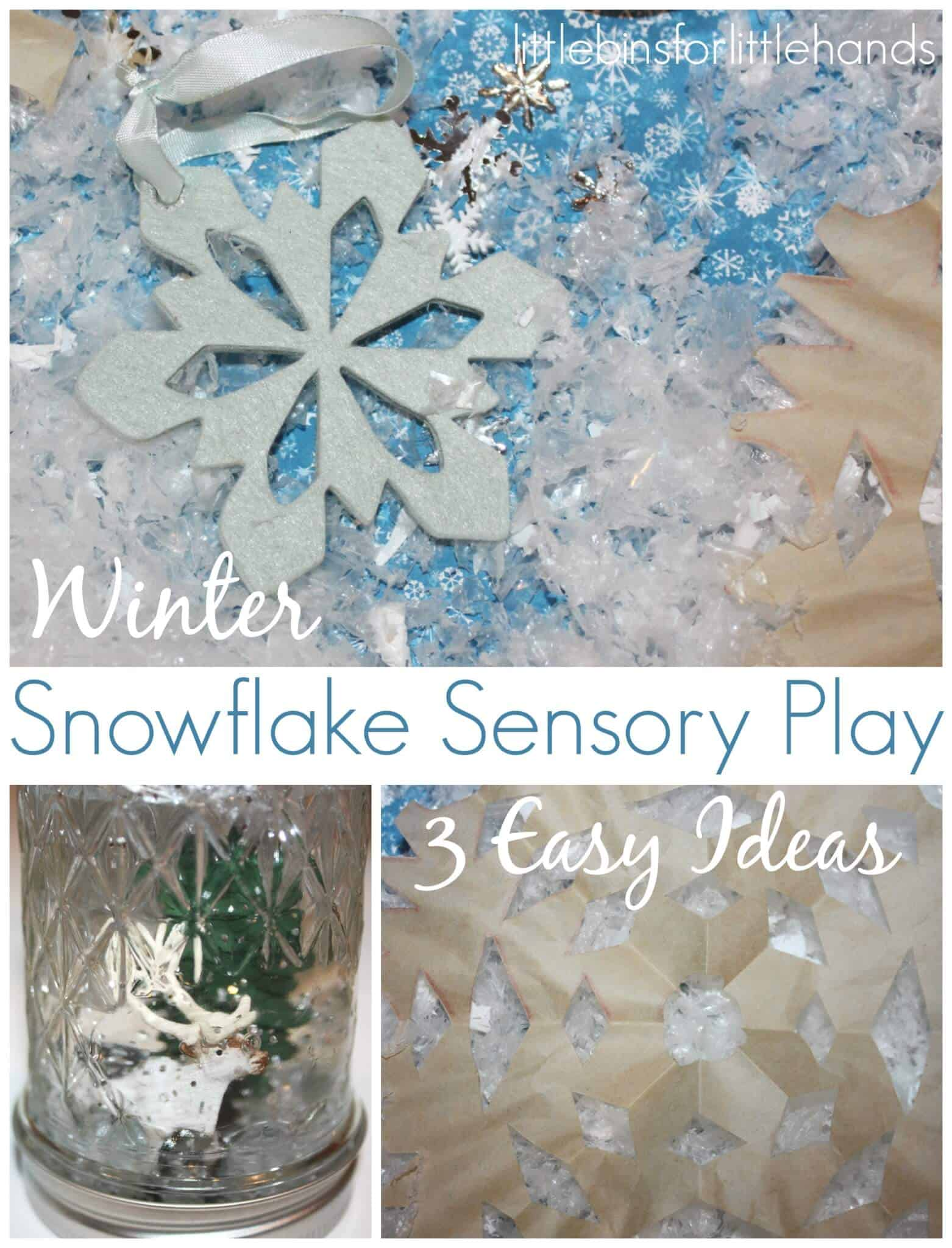Snowflake Sensory Play Jar and Sensory Bin