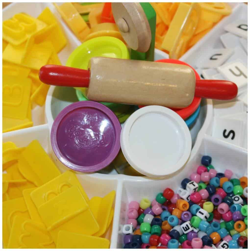 alphabet playdough activity tray