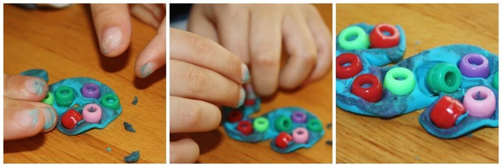 alphabet playdough cookie cutter and beads