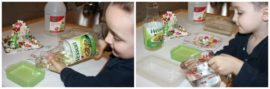 christmas candy science experiment poring liquids