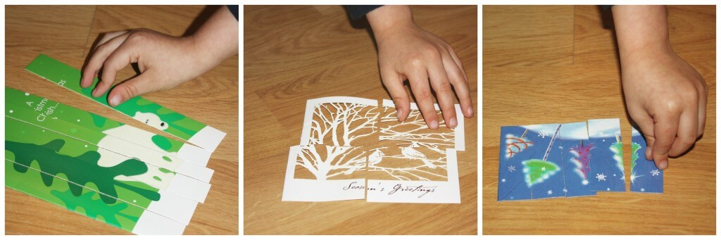 christmas fine motor skills card puzzle completing