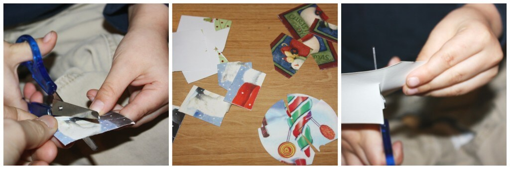 christmas fine motor skills card puzzle cutting practice