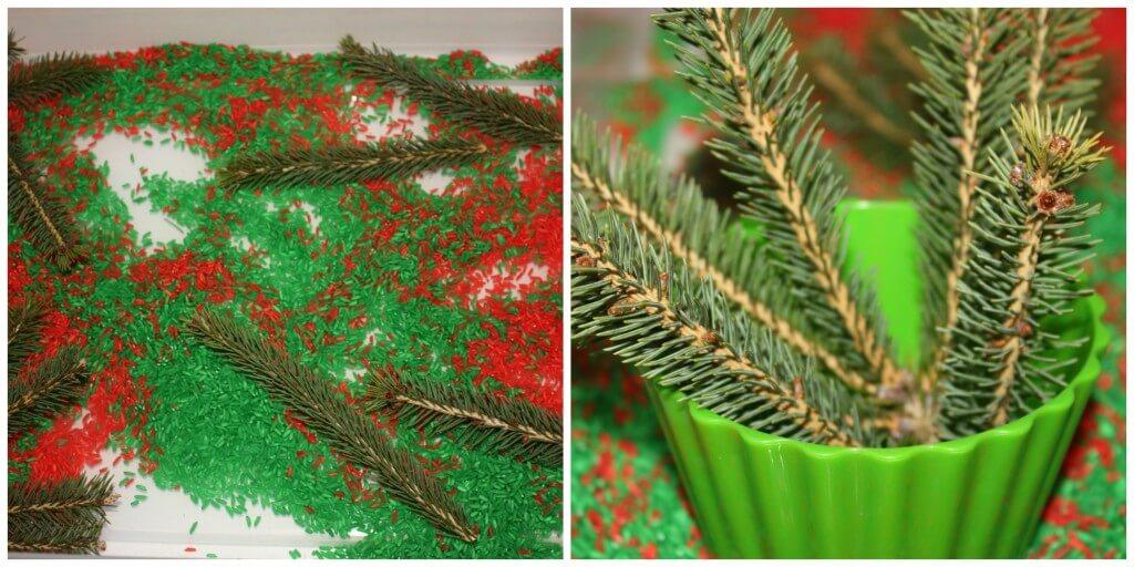 christmas rice sensory bin adding tree pieces