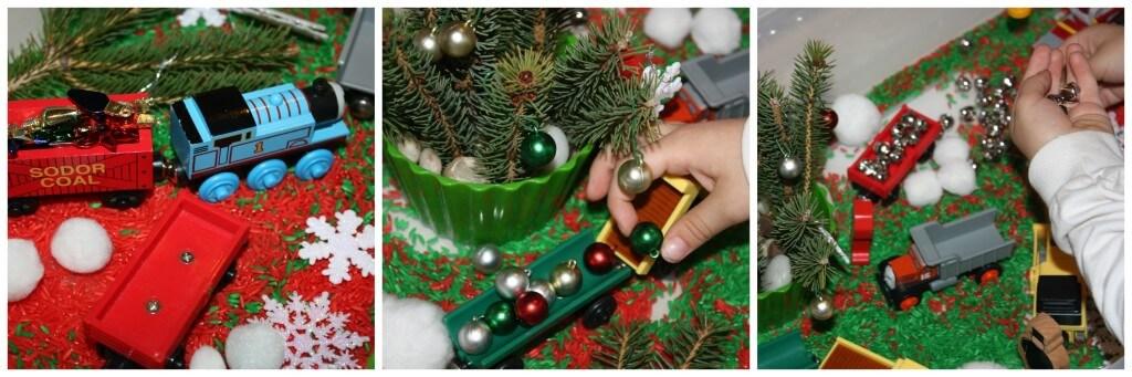 christmas rice sensory bin free play