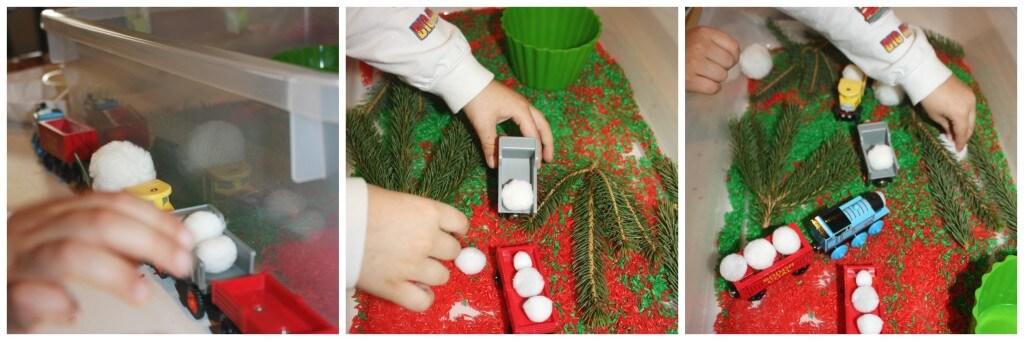 christmas rice sensory bin playing with pretend snow balls
