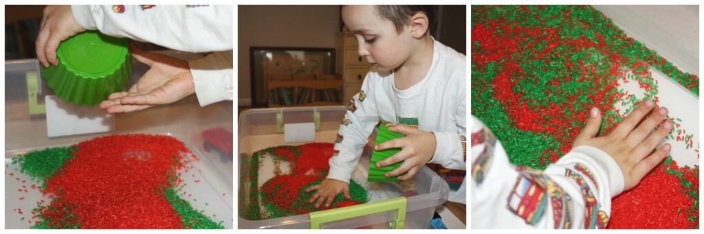 christmas rice sensory bin rice colors pouring and mixing