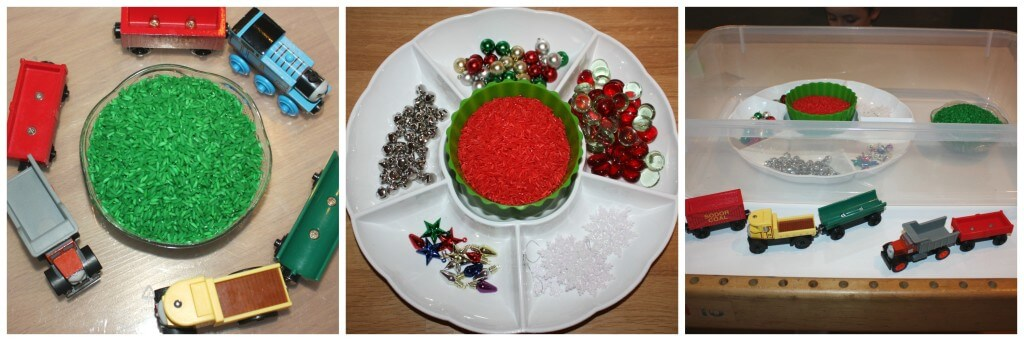 christmas rice sensory bin set up
