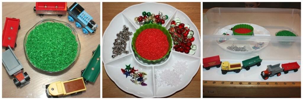 christmas rice sensory bin set up