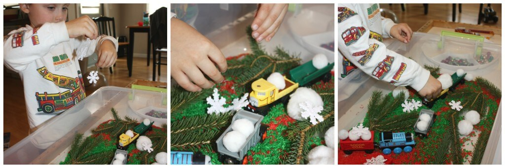 christmas rice sensory bin snowflake play