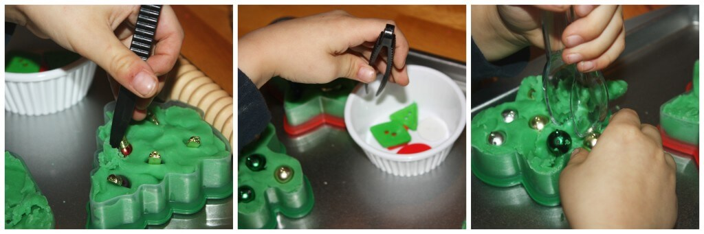 cookie cutter play dough fine motor work