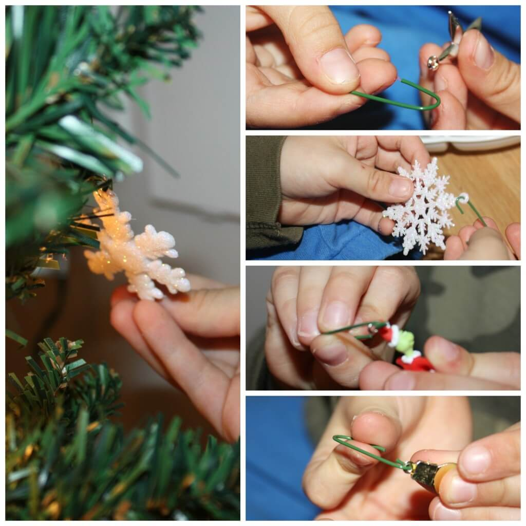 decorating tree showing off fine motor skills