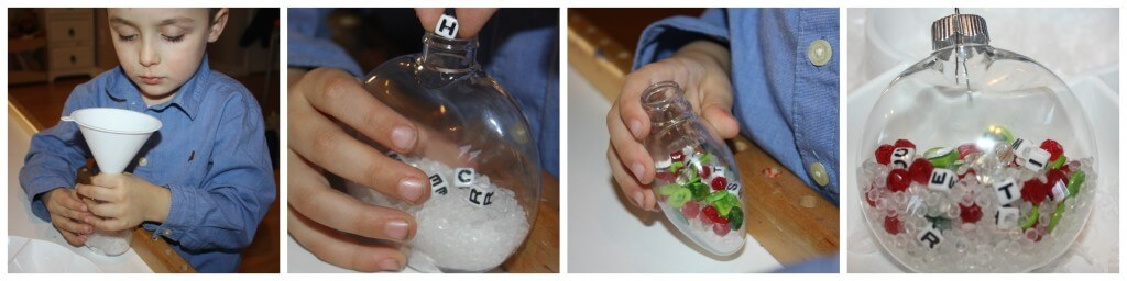 globe decorating beads and letters