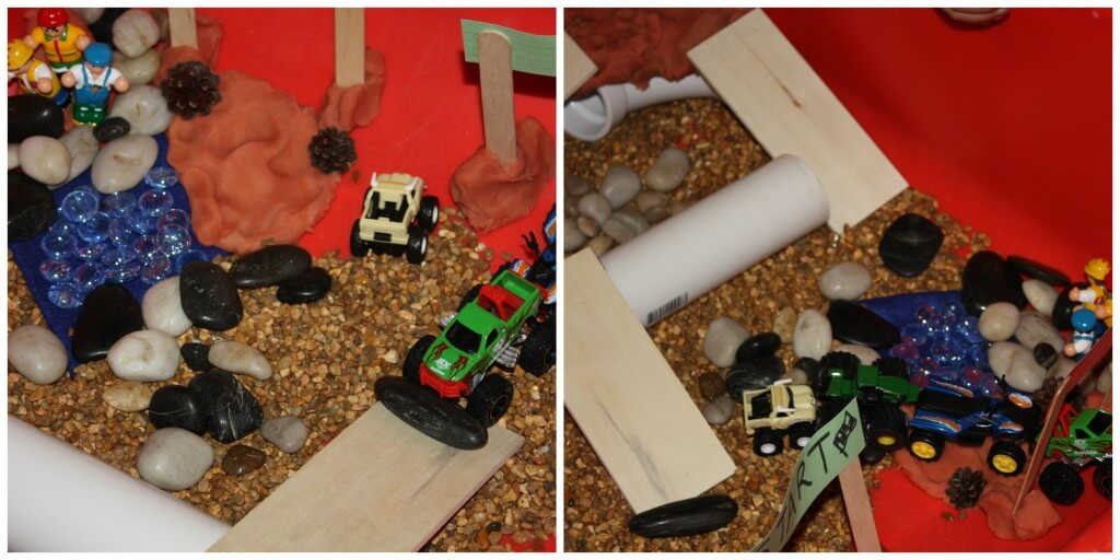 monster truck sensory play start and finish