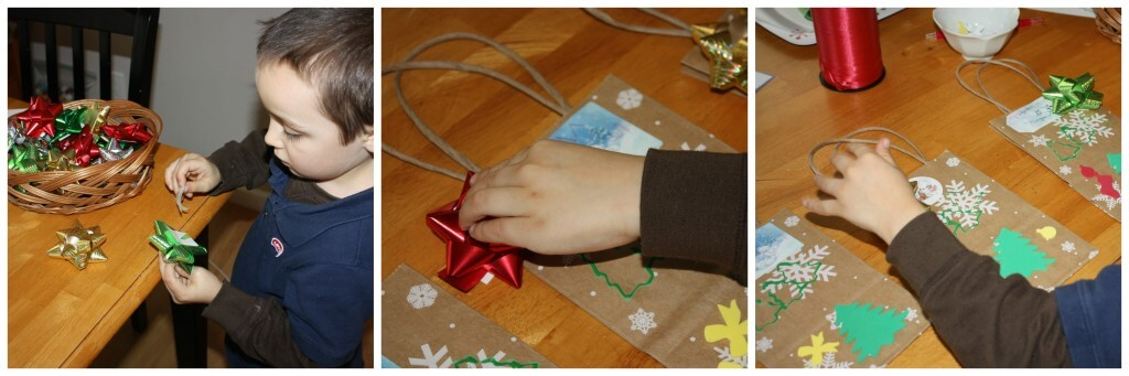 present wrapping fine motor skills bow placing