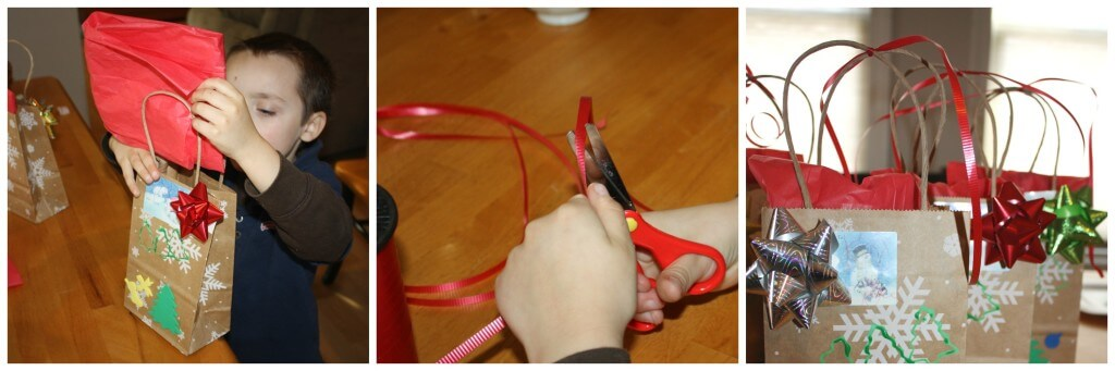 present wrapping fine motor skills packing and ribbon tying