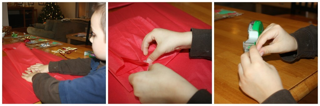 present wrapping fine motor skills tissue and tape