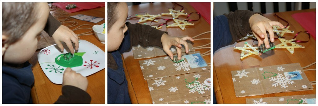 present wrapping fine motor skills tree stamping