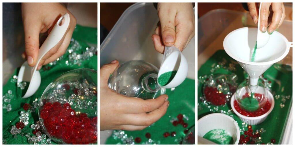 sand ornament Christmas Sensory Bin Play