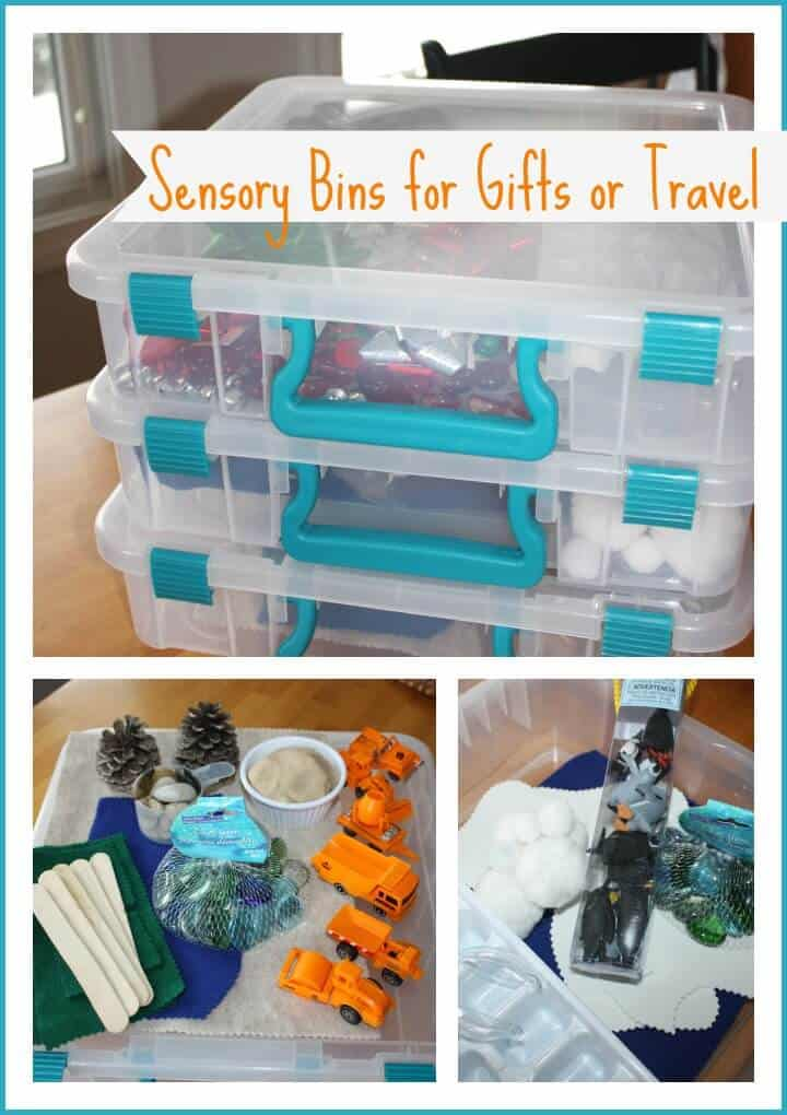 sensory bins for gifts or trave;