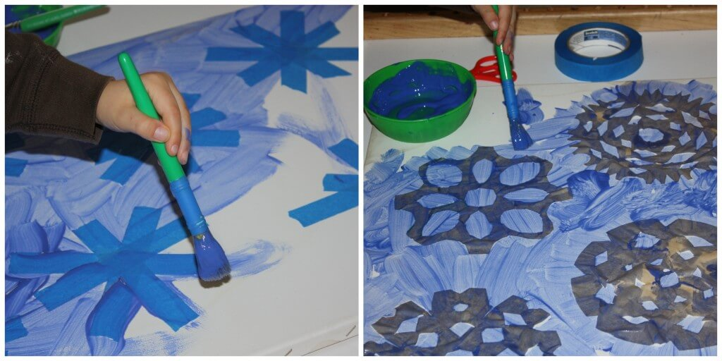 snowflake painting canvases