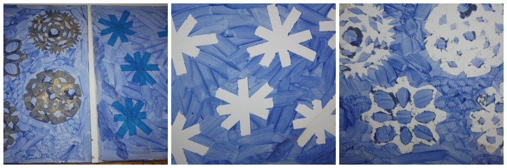 snowflake painting finished canvases
