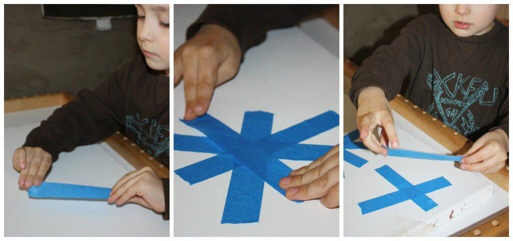 snowflake painting tape resist set up