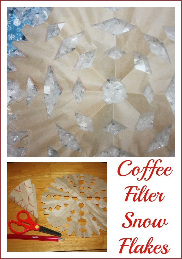 snowflake sensory play coffee filters