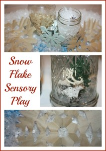 snowflake sensory play jar and bin