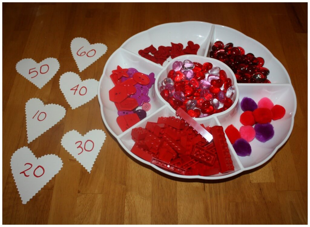 Valentines early learning counting to 60 set up