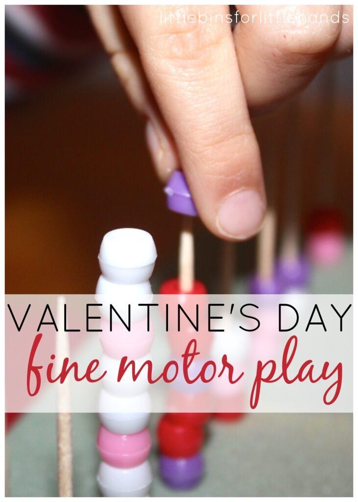 Valentines fine motor skills activities transferring threading punching