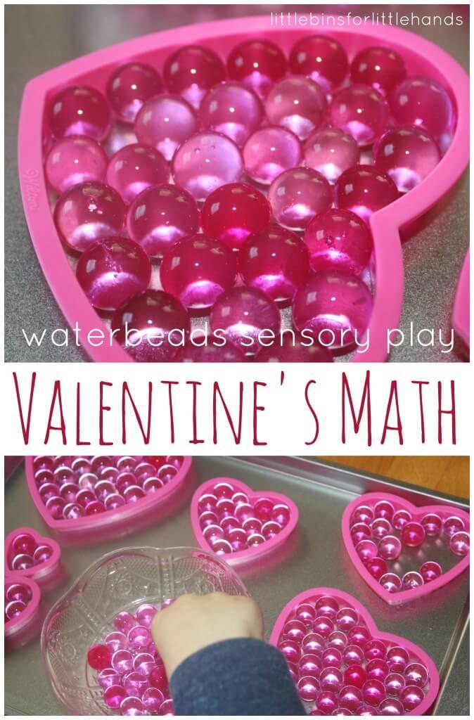 Valentines math water beads sensory play