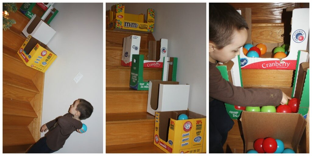 cardboard box ball game on stairs