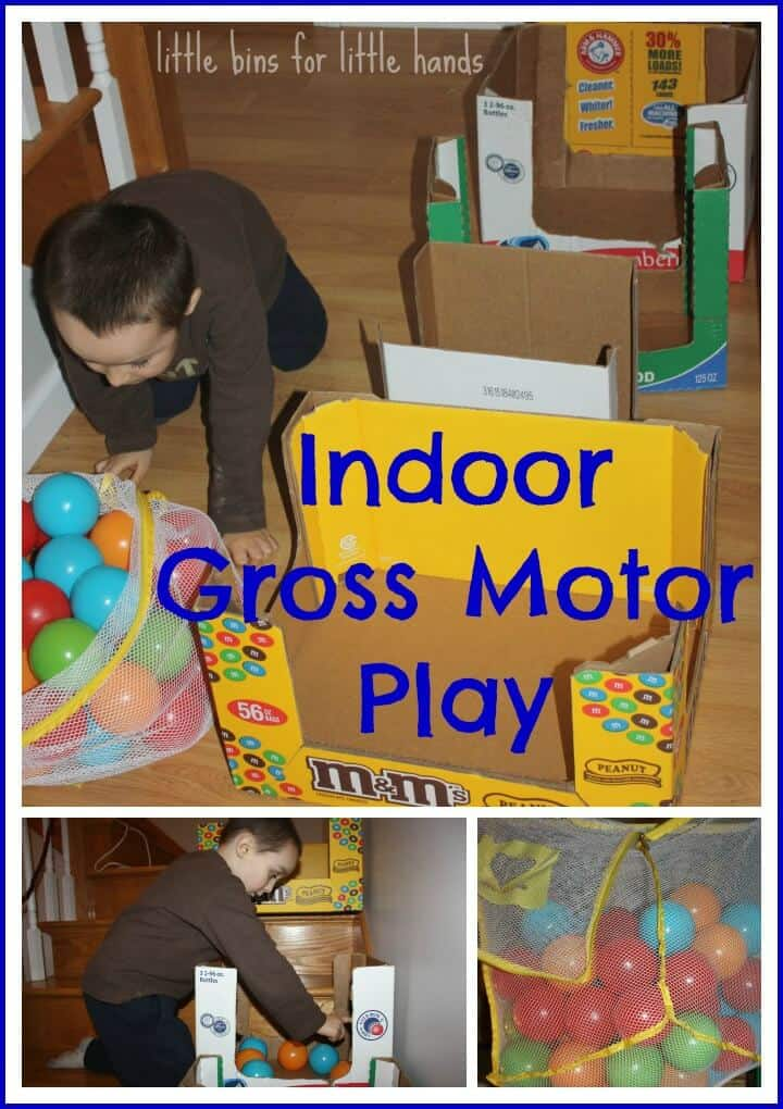 Recycled cardboard box play create project recycle for Indoor gross motor activities
