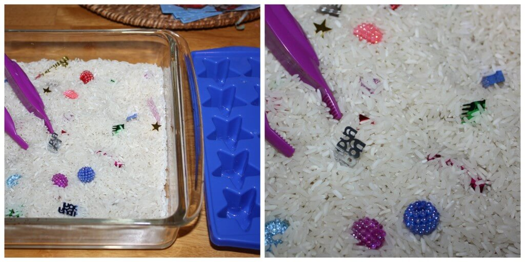 confetti fine motor skills set up
