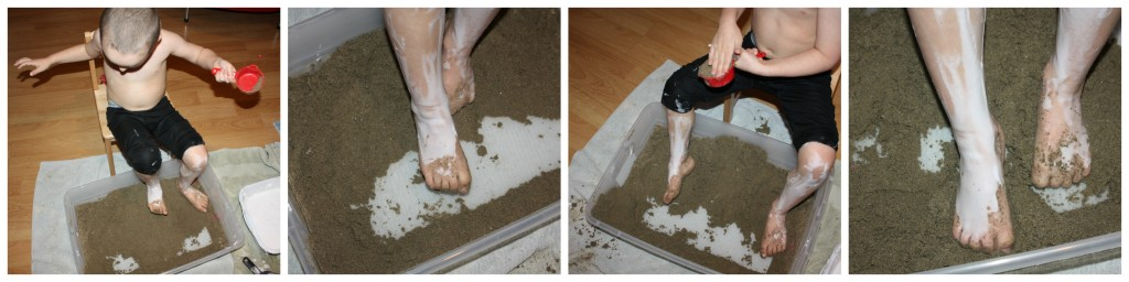 feet sensory play digging with toes