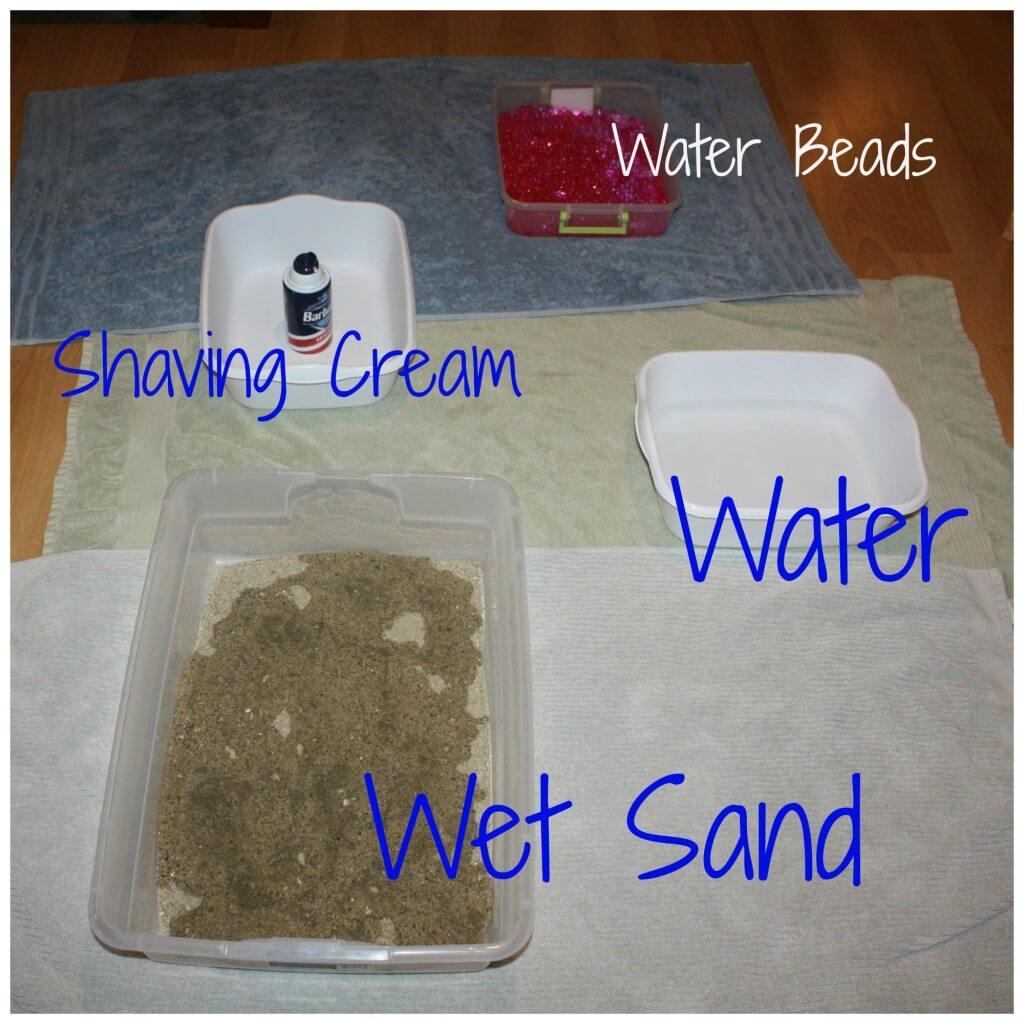 feet sensory play set up