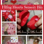 filling hearts sensory bin activity
